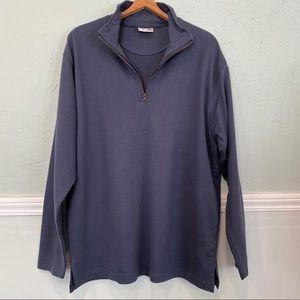Quarter Zip Pullover Sweatshirt Blue Sz L